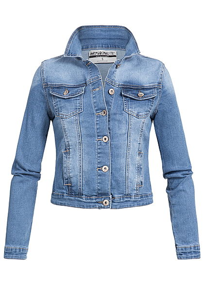 a2aa2defa4559f Seventyseven Lifestyle Damen Jeans Jacke 2 Brusttaschen 2 Taschen hell blau  denim - 77onlineshop
