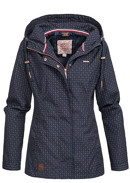 4b43e3feebeaac Aiki Damen Frühjahrs Jacke Kapuze Anker Muster 2 Taschen navy blau rot -  77onlineshop