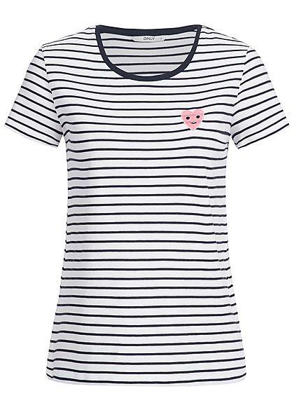ONLY Damen T-Shirt Streifen Muster Herz Patch weiss night sky blau rosa -  77onlineshop f3d5484b70