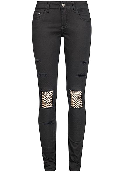 8adfb3cf939d20 Seventyseven Lifestyle Damen Jeans Hose Heavy Destroy Look 5-Pockets  schwarz denim - 77onlineshop