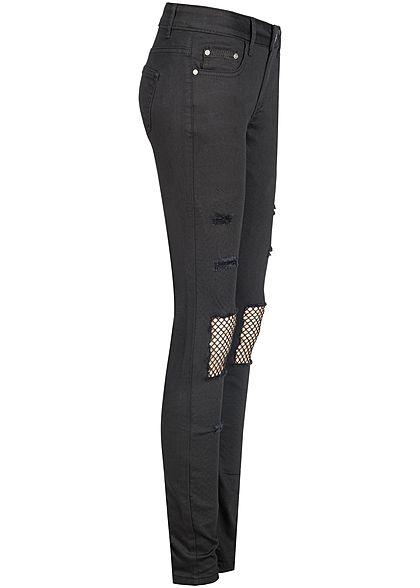 Seventyseven Lifestyle Damen Jeans Hose Heavy Destroy Look 5-Pockets schwarz denim