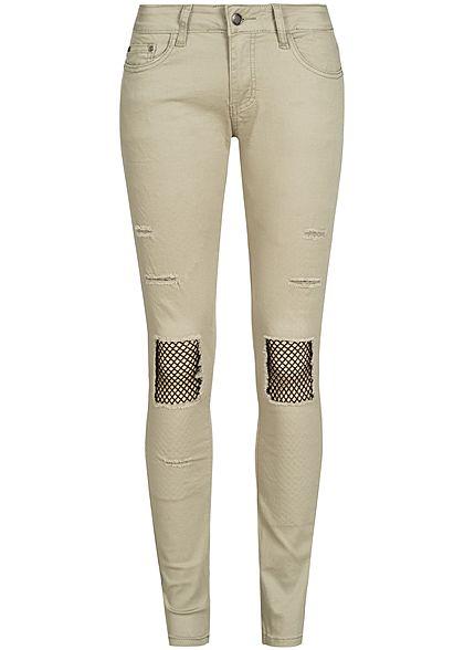 625dfda21809fd Seventyseven Lifestyle Damen Jeans Hose Heavy Destroy Look 5-Pockets khaki  - 77onlineshop