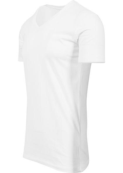 Seventyseven LifestyleTB Men Basic T-Shirt mit V-Ausschnitt weiss