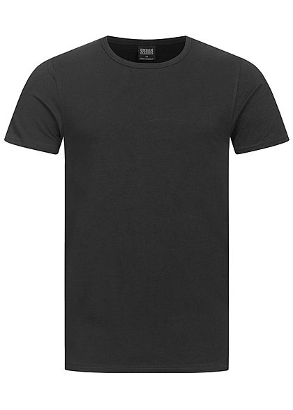 Seventyseven LifestyleTB Men Basic T-Shirt einfarbig Fitted Stretch Rundhals schwarz