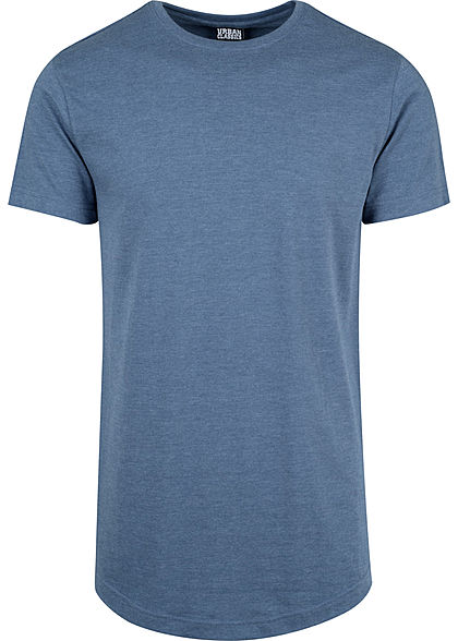 Seventyseven LifestyleTB Men Long Tee T-Shirt in Melange Optik extra lang stone blau