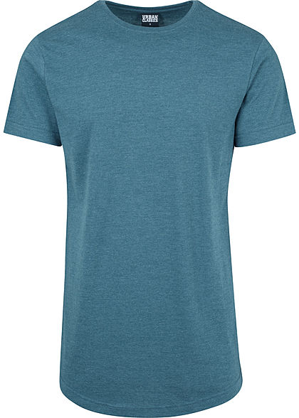 Seventyseven LifestyleTB Men Long Tee T-Shirt in Melange Optik extra lang türkis teal
