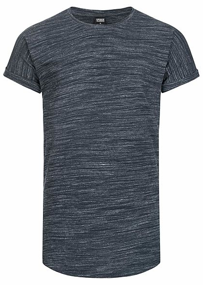 Seventyseven LifestyleTB Men T-Shirt Long Tee Space Dye in Melange Optik navy blau