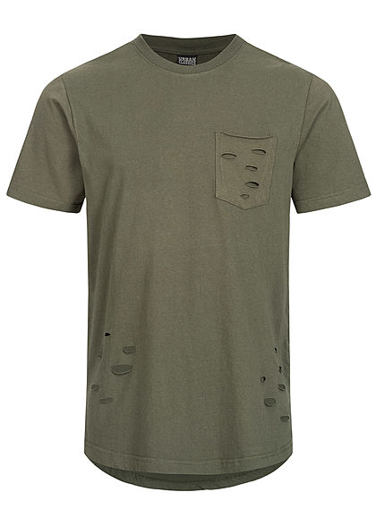Seventyseven LifestyleTB Men T-Shirt Destroyed Used Look mit Brusttasche olive grün