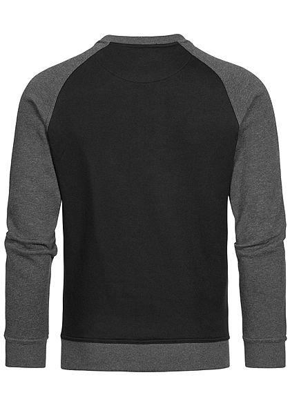 Urban Classics Herren 2-Tone Raglan Pullover schwarz charcoal dunkelgrau