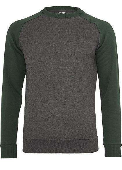 Crew Sweatshirt Jungen Dunkelgrau, Neongrün