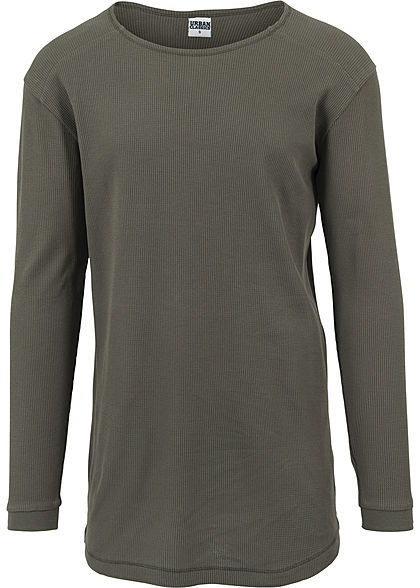 Seventyseven LifestyleTB Men Longsleeve Thermal Rundhals Waffel-Optik olive