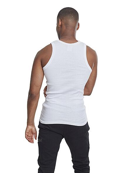 Urban Classics Herren Slim Fit Basic Tank Top aus Grobripp weiss