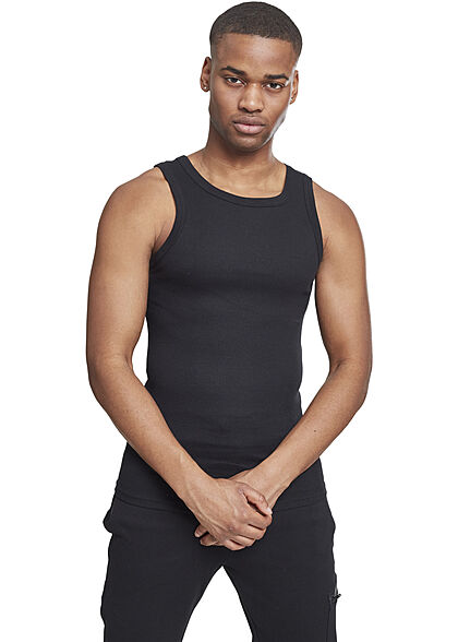 Seventyseven LifestyleTB Men Slim Fit Basic Tank Top aus Grobripp schwarz