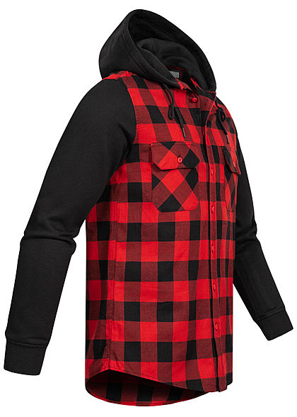 Urban Classics Herren Hemd Kariert mit Sweat Ärmeln und Kapuze schwarz rot
