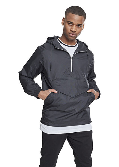 Urban Classics Herren Übergangsjacke Half Zip Kapuze Brusttasche vorne schwarz