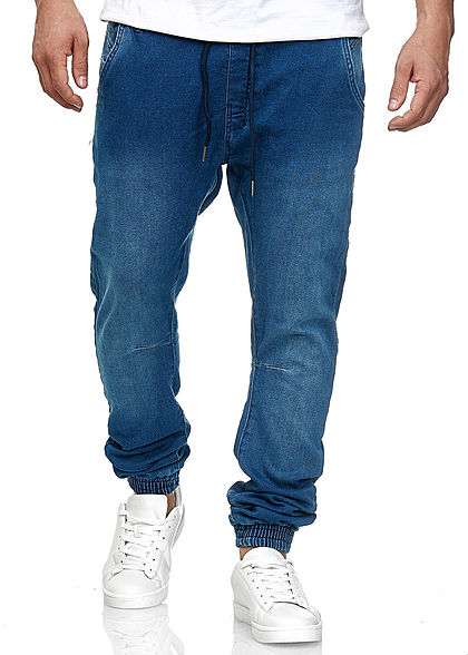Seventyseven LifestyleTB Men Sweat Pants aus Stretch Denim mit leichter Waschung blau