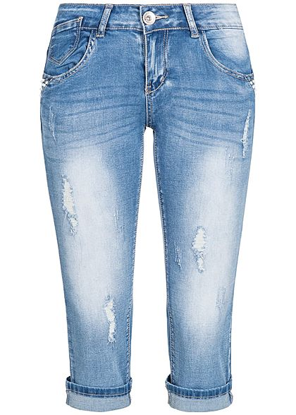 klare Textur am modischsten am besten authentisch Seventyseven Lifestyle Damen 3/4 Jeans Hose Destroy Look 5-Pockets medium  blau denim
