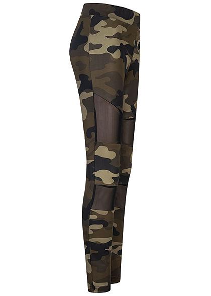 Urban Classics Damen Leggings Gummibund Mesh wood camouflage