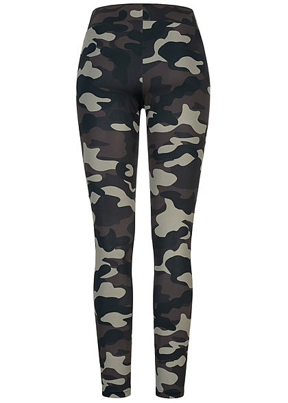 Urban Classics Damen Leggings Gummibund Mesh dunkel camouflage