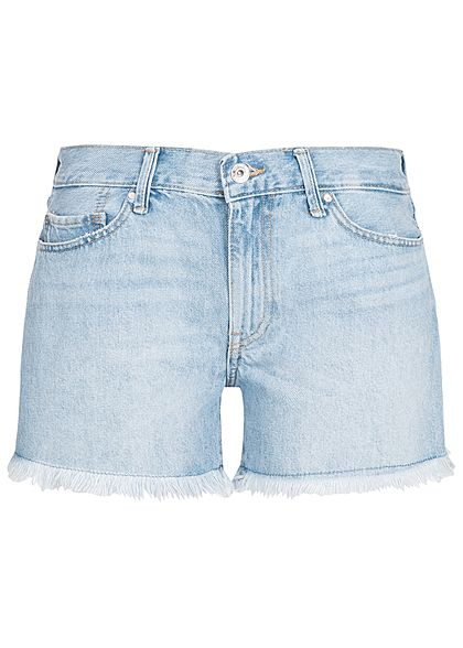 ONLY Damen Shorts High Waist 5-Pockets Fransen NOOS hell blau denim