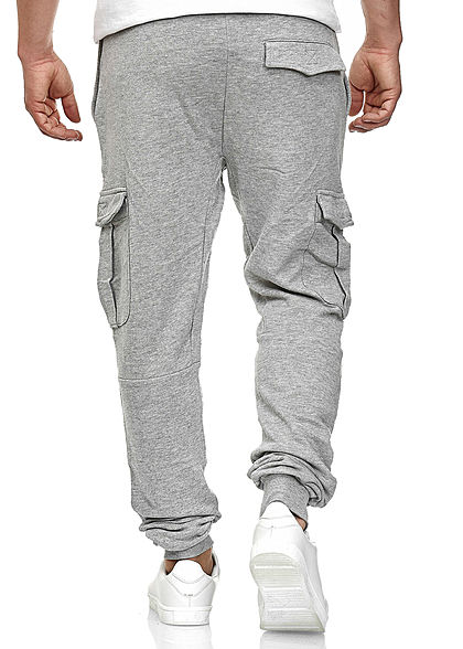 Seventyseven LifestyleTB Men Jogginghose Sweatpant mit Cargotaschen grau