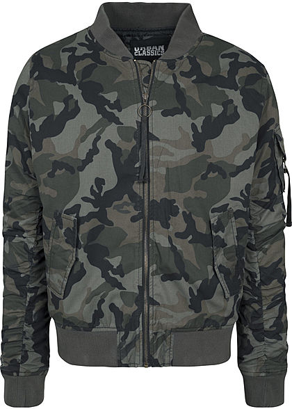 Seventyseven LifestyleTB Men Bomberjacke Allover Camo Print gewaschene Optik wood camo