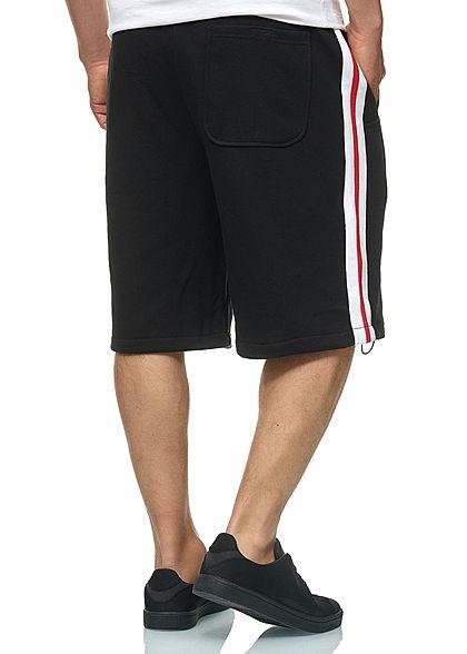Seventyseven Lifestyle TB Herren Striped Sweat Shorts schwarz weiss rot