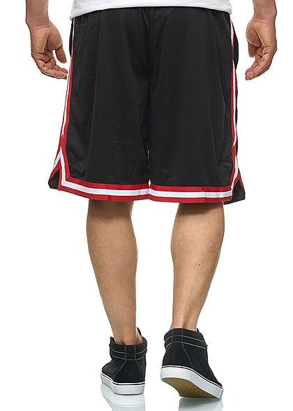 Seventyseven Lifestyle TB Herren Striped Mesh Shorts schwarz rot weiss