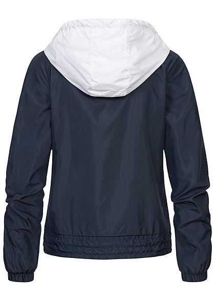 Urban Classics Damen Zip Windbreaker 2 Zip Taschen Kapuze blau weiss rot