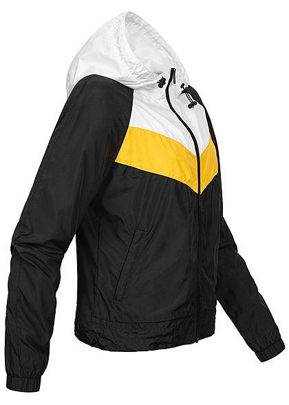 Urban Classics Damen Zip Windbreaker 2 Zip Taschen Kapuze schwarz weiss gelb