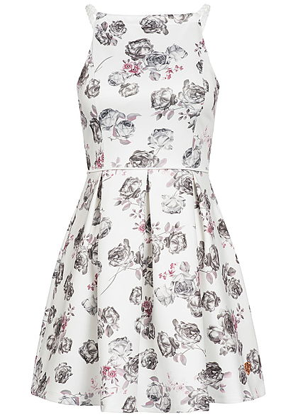 timeless design efad9 cc61f Aiki Damen Mini Kleid Rosen Muster Brustpads Flechtträger weiss grau rosa