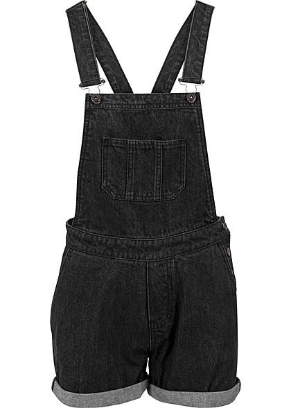 Seventyseven LifestyleTB Damen kurze Latzhose 5-Pockets Washed Look schwarz denim