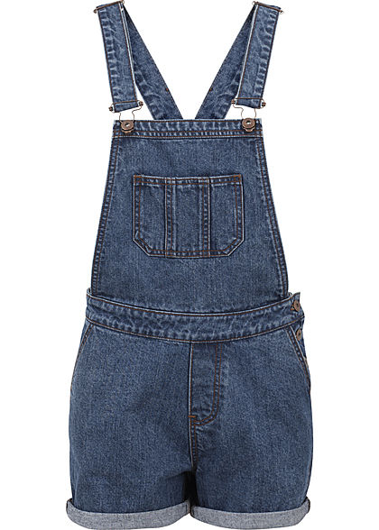 Seventyseven LifestyleTB Damen kurze Latzhose 5-Pockets medium blau denim