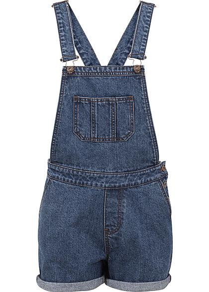neue Stile feinste Stoffe billig für Rabatt Seventyseven LifestyleTB Damen kurze Latzhose 5-Pockets medium blau denim