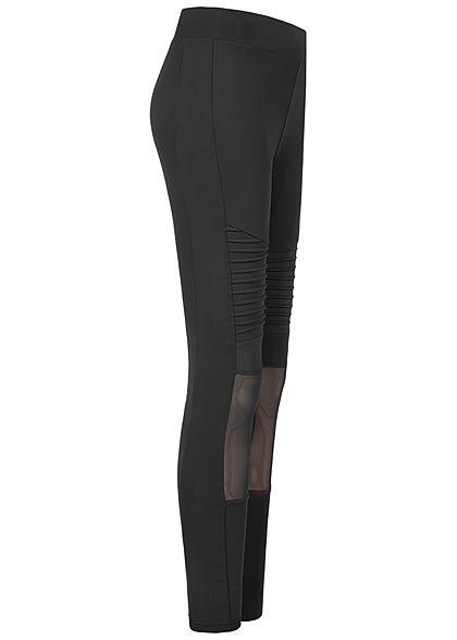 Urban Classics Damen Leggings Gummibund Mesh Biker Style schwarz