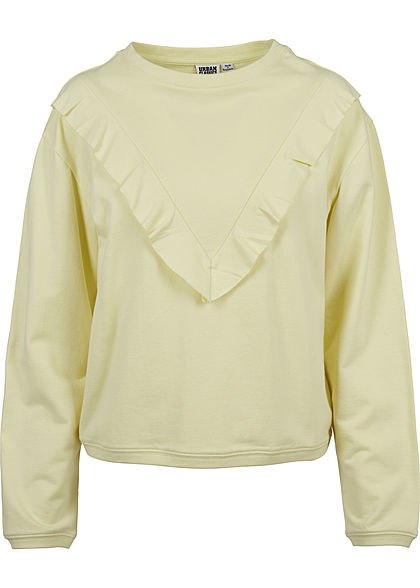 Seventyseven LifestyleTB Damen Sweater mit Frill Detail powder gelb