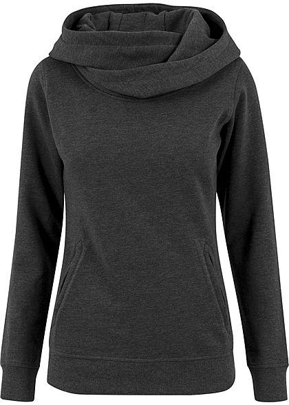 seventyseven lifestyle damen hoodie berlappende kapuze k ngurutasche dunkel grau 77onlineshop. Black Bedroom Furniture Sets. Home Design Ideas