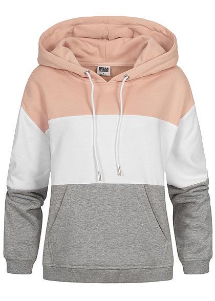 wholesale dealer 7f71f 9b53a Seventyseven LifestyleTB Damen 3-Tone Hoodie Kängurutasche Kapuze rosa  weiss grau