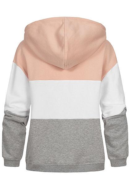 Urban Clasics Damen Damen 3-Tone Hoodie Kängurutasche Kapuze rosa weiss grau