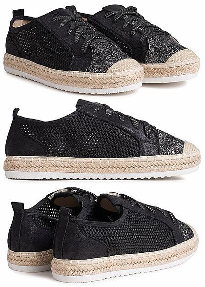 online store 20054 3ae33 Seventyseven Lifestyle Schuh Damen Sommer Sneaker Glitzer schwarz
