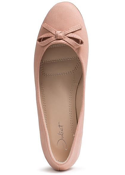 d52031927917a Seventyseven Lifestyle Schuh Damen Ballerina deko Schleife Kunstleder nude  rosa