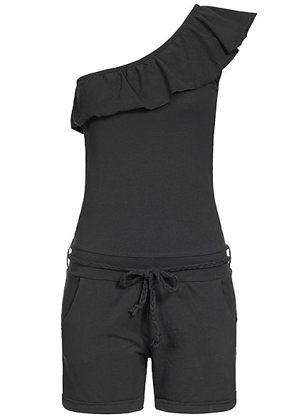 Eight2Nine Damen Short Jumpsuit Bindegürtel 2 Taschen by Sublevel schwarz