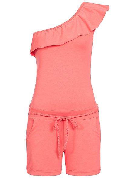 Eight2Nine Damen Short Jumpsuit Bindegürtel 2 Taschen by Sublevel coral dunkel pink