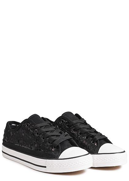 wholesale dealer e4630 4e143 Seventyseven Lifestyle Schuh Damen Sneaker zum Binden Pailletten Spitze  schwarz