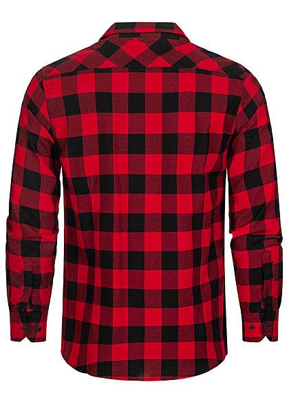 Urban Classics Herren Flanell Hemd kariert zwei Brusttaschen schwarz rot