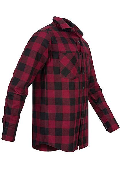 Urban Classics Herren Flanell Hemd kariert zwei Brusttaschen schwarz dunkelrot