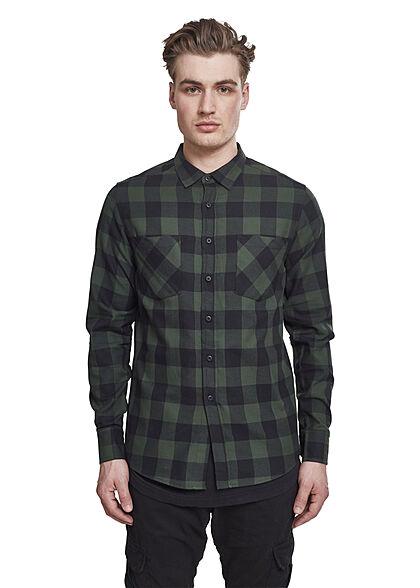 Urban Classics Herren Flanell Hemd kariert zwei schwarz forest grün
