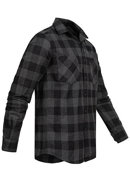 Urban Classics Herren Flanell Hemd kariert zwei Brusttaschen schwarz grau