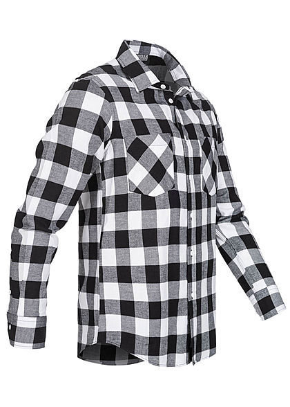 Urban Classics Herren Flanell Hemd kariert zwei Brusttaschen schwarz weiss