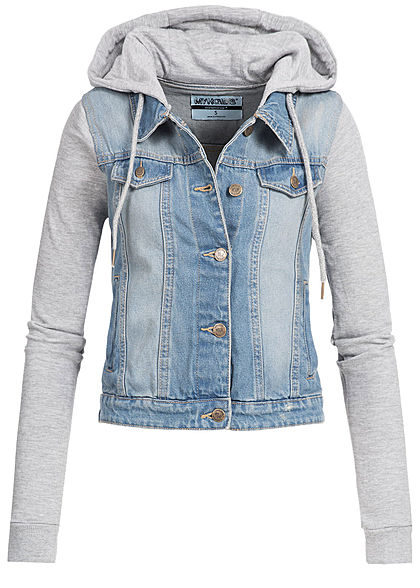 Hailys Damen 2in1 Hooded Jeans Jacket 4-Pockets hell blau denim grau